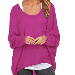 ZANZEA Women's Batwing Sleeve Off Shoulder Loose Oversized Baggy Tops Sweater Pullover Casual Blo... | Amazon (US)