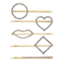5 Pcs Geometric Rhinestone Hair Pins Minimalist Dainty Heart Round Metal Hair Clips 5 Different S... | Amazon (US)