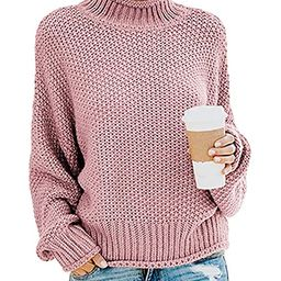 TECREW Womens Chunky Turtleneck Sweaters Batwing Sleeve Oversized Knitted Pullover Jumper | Amazon (US)