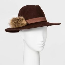 Women's Felt Wide Brim Fedora Hat - A New Day™ Brown | Target