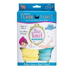 Turbie Twist Microfiber Hair Towel (2 Pack) Yellow-Aqua | Amazon (US)