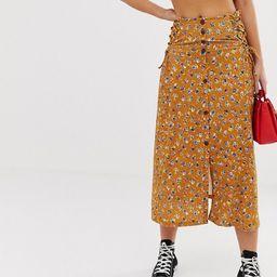 ASOS DESIGN vintage mustard floral midi skirt with tie side   ASOS US