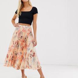 ASOS DESIGN satin pleated midi skirt in Hawaiian floral | ASOS UK