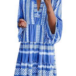 DYMADE Women's 3/4 Sleeve V Neck Bohemian Ruffle Midi Dress Flowy Summer Dress | Walmart (US)