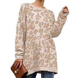 PRETTYGARDEN Women's Casual Leopard Print Long Sleeve Crew Neck Oversized Pullover Knit Sweater...   Amazon (US)