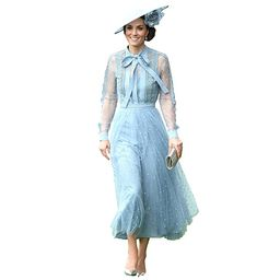 Get The Looks Kate Middleton Royal Ascot Blue Lace Tulle Dress   Amazon (US)