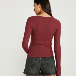 Long-Sleeve Slim Ribbed Tee | Abercrombie & Fitch US & UK
