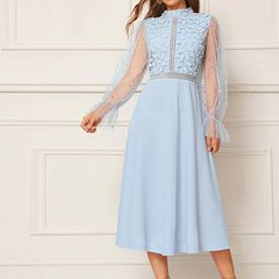 SHEINStar Mesh Bell Sleeve Guipure Lace Bodice Solid Dress   SHEIN