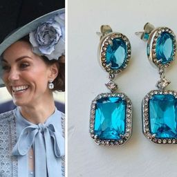 Kate Middleton Aquamarine Octagon Oval Stainless Steel Cubic Zirconia Halo Drop Replikate Earring...   Etsy (US)
