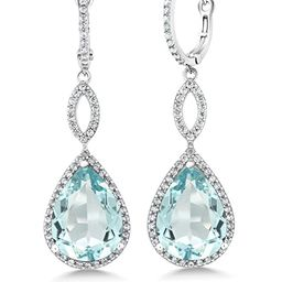 Gem Stone King 925 Sterling Silver Dangle Earrings 2 Inch 16X12MM Pear Shape 2inches   Amazon (US)