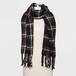 Women's Plaid Brushed Blanket Scarf - A New Day™ Black One Size   Target
