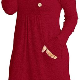 ETCYY NEW FANEW Womens Cowl V- Neck Buttoned Knit Loose Fit Sweater Dress with Pocket   Amazon (US)