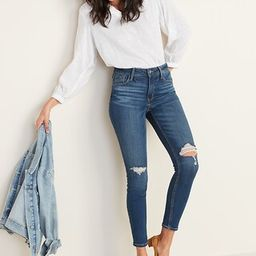 High-Waisted Rockstar Distressed Super Skinny Jeans For Women | Old Navy (US)