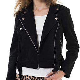 Apperloth Faux Suede Jackets for Women Long Sleeve Zipper Short Moto Biker Coat   Amazon (US)