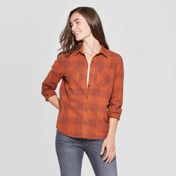 Women's Plaid Long Sleeve Cotton Flannel Shirt - Universal Thread™ Rust | Target