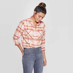 Women's Plaid Long Sleeve Cotton Flannel Shirt - Universal Thread™ Pink | Target