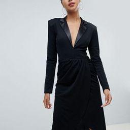 Club L tuxedo wrap midi dress | ASOS US