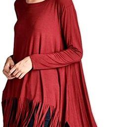 Oddi Boho Chic Jersey Knit Fringe Tunic Top reg & Plus Size   Amazon (US)