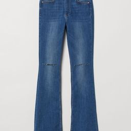Mini Flare High Jeans - Denim blue/trashed -    H&M US   H&M (US)