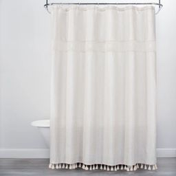 Solid Crochet with Tassels Shower Curtain Tan - Opalhouse™ | Target