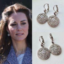 Kate Middleton Inspired Rhodium Cubic Zirconia Circle Art Deco Round Drop Earrings | Etsy (US)