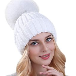 Womens Girls Knitted Fur Hat Real Large Silver Fox Fur Pom Pom Beanie Hats | Amazon (US)