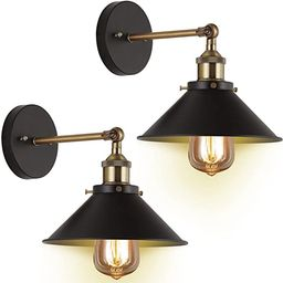 Wall Sconces 2-Pack JACKYLED UL Black Hardwire Industrial Vintage Wall Lamp Fixture Simplicity Br...   Amazon (US)