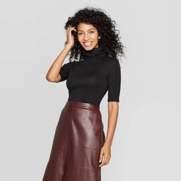 Women's Regular Fit Elbow Sleeve Turtleneck T-Shirt - A New Day™   Target