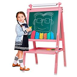 3 in 1 Wooden Kids Easel Double-Sided Magnetic Drawing Board Whiteboard & Chalkboard Dry Easel wi...   Amazon (US)