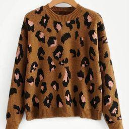 Drop Shoulder Leopard Print Sweater | SHEIN
