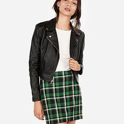 vegan leather cropped zip moto jacket | Express