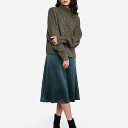 high waisted satin midi skirt | Express