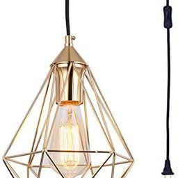 SEEBLEN Plug in Pendant Light Gold Hanging Lights P002 | Amazon (US)