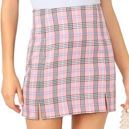 WDIRARA Women's Basic High Waist Bodycon Mini Plaid Uniform Skirt | Amazon (US)