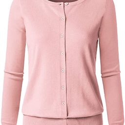 JSCEND Women's Long Sleeve Button Down Crew Neck Soft Knit Cardigan Sweater | Amazon (US)