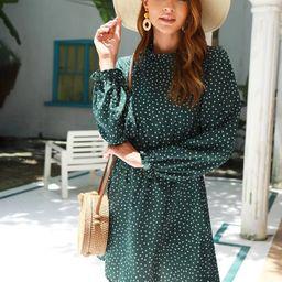Polka Dot Frill Trim Long Sleeve Dress   SHEIN