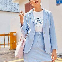 Single Button Cord Blazer & Pencil Skirt Set   SHEIN