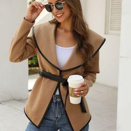 Contrast Binding Waterfall Collar Belted Coat   SHEIN