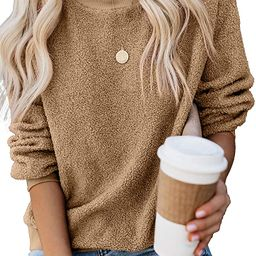 Womens Crewneck Long Sleeve Fuzzy Solid Sweatshirt Tops Casual Loose Fitting Pullover Shirt | Amazon (US)