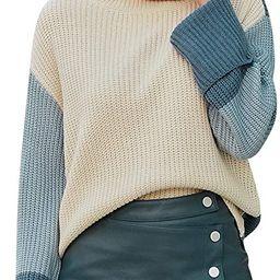 Women's Casual Long Sleeve Turtleneck Sweater Pullover Knit Jumper   Amazon (US)