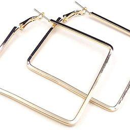 Yukhins Stainless Steel Simple Geometric Big Hoop Earring For Women Girls | Amazon (US)