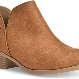 Women's Madeline Western Almond Round Toe Slip on Bootie - Low Stack Heel - Zip Up - Casual Ankle...   Amazon (US)