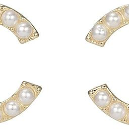 MAIDEARS Small Pearl CC Stud Earrings 14K Gold Plated fashion studs earrings For Women and Girls | Amazon (US)