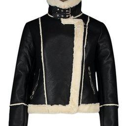 Bonded Contrast Faux Fur Biker | Boohoo.com (US & CA)