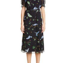 Floral Print Belted Chiffon Midi Dress | Nordstrom