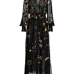 Embroidered Floral Silk Chiffon Wrap Dress | Saks Fifth Avenue