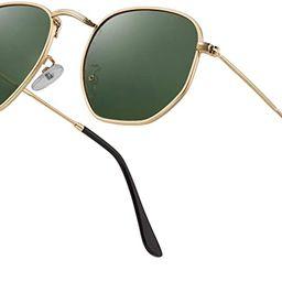 Hipster Hexagonal Polarized Sunglasses Men Women Geometric Square Small Vintage Metal Frame Retro...   Amazon (US)