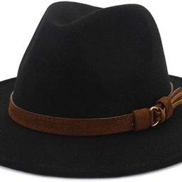 Men & Women Vintage Wide Brim Fedora Hat with Belt Buckle   Amazon (US)