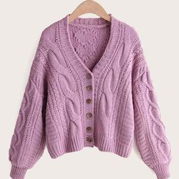 Solid Button Front Cable Knit Cardigan | SHEIN
