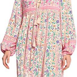 Women's Long Sleeve Floral Print Retro V Neck Tassel Bohemian Midi Dresses | Amazon (US)